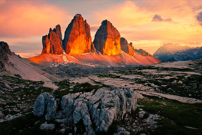 Tree Peaks during the sunrise in Dolomites