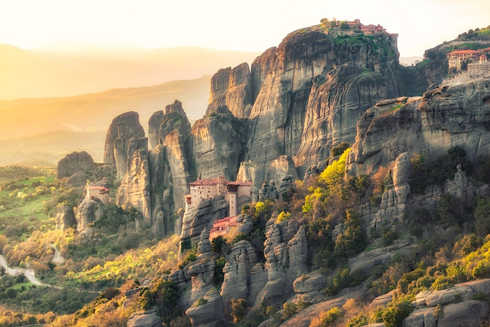 The Meteora is a rock formation in central Greece hosting one of the largest and most precipitously built complexes of Eastern Orthodox monasteries, second in importance only to Mount Athos