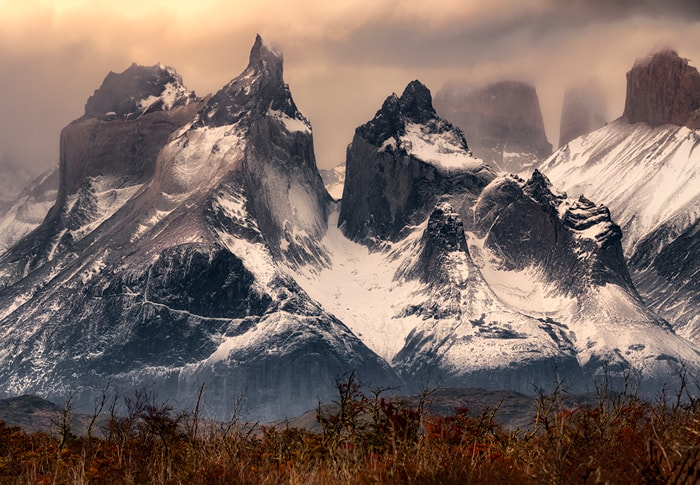 The peaks of mountain Fitz Roy covered by snow