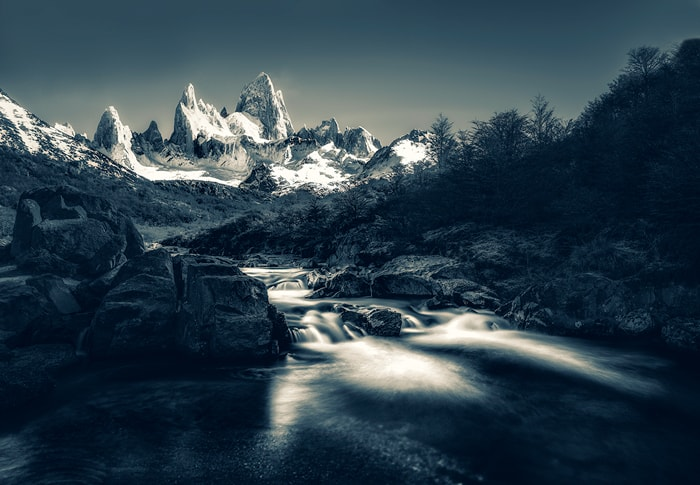 a secret waterfall at Fitz Roy river