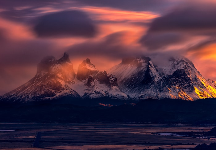 a long exposure shot at sunrise with a great backround of torres del paine
