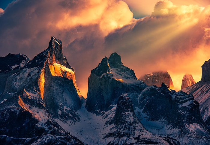 The Torres del Paine are the distinctive three granite peaks