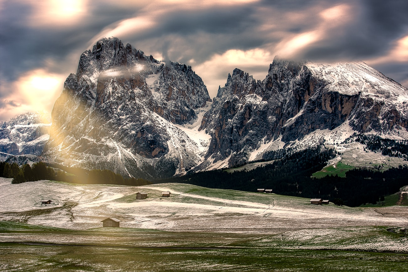 alpenglow in dolomites area