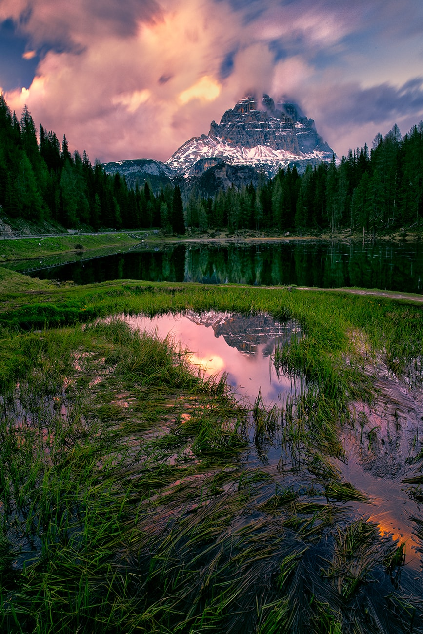 coloful lake in dolomites,italy