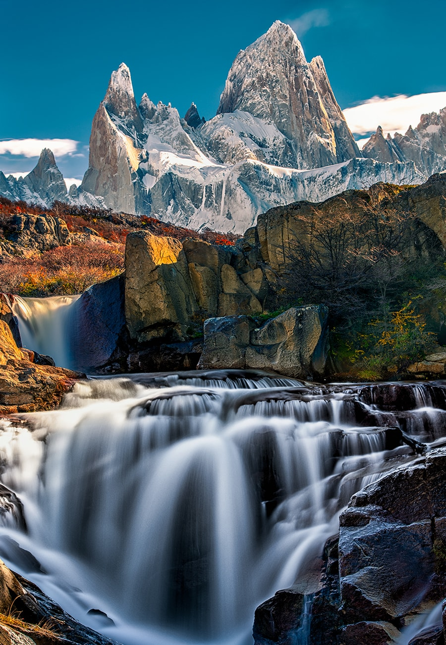 the river fitz roy with a waterfall