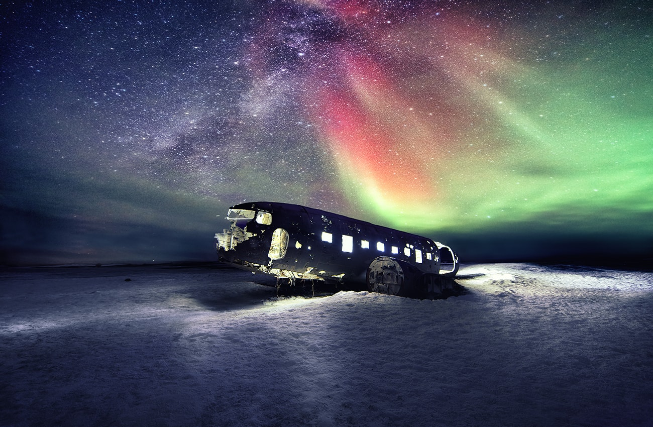 The epic plane wreck on the black beach in South Iceland