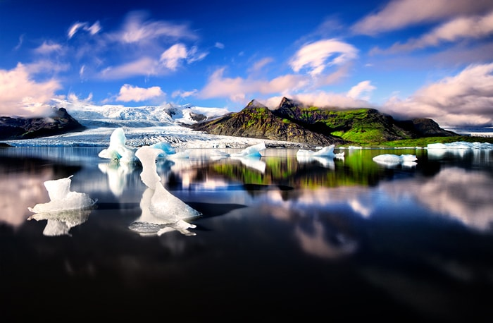 small icebergs in the glacier lagoon