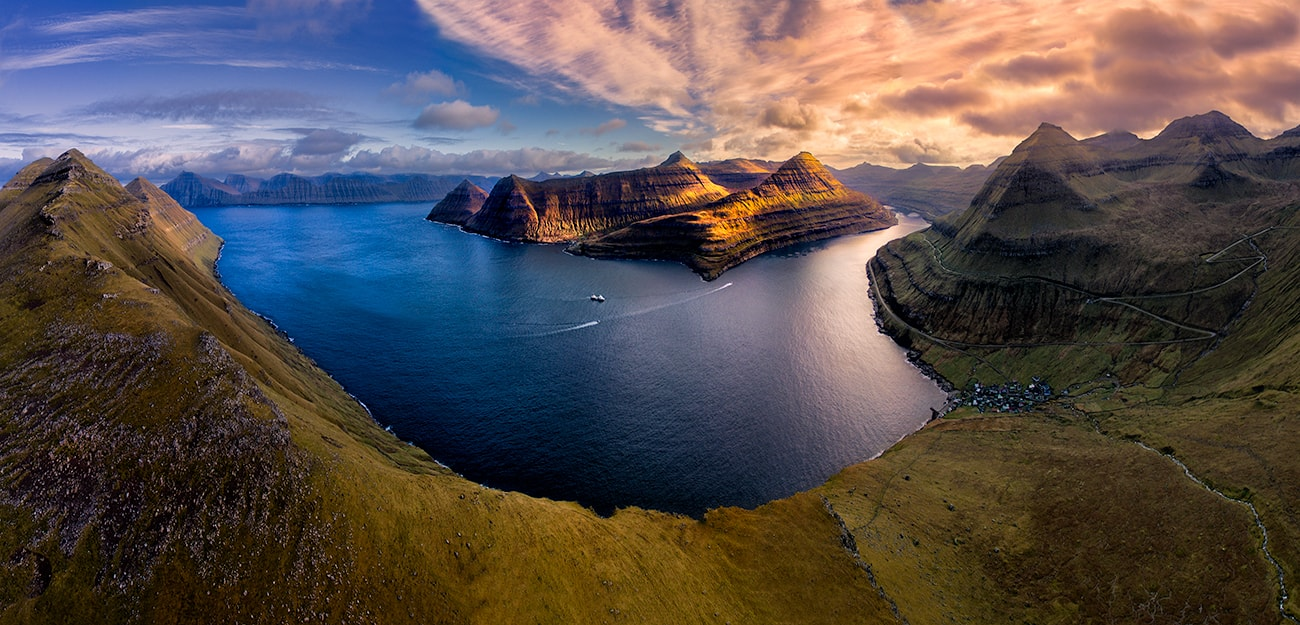 panoramic drone shoot during workshop in faroe islands