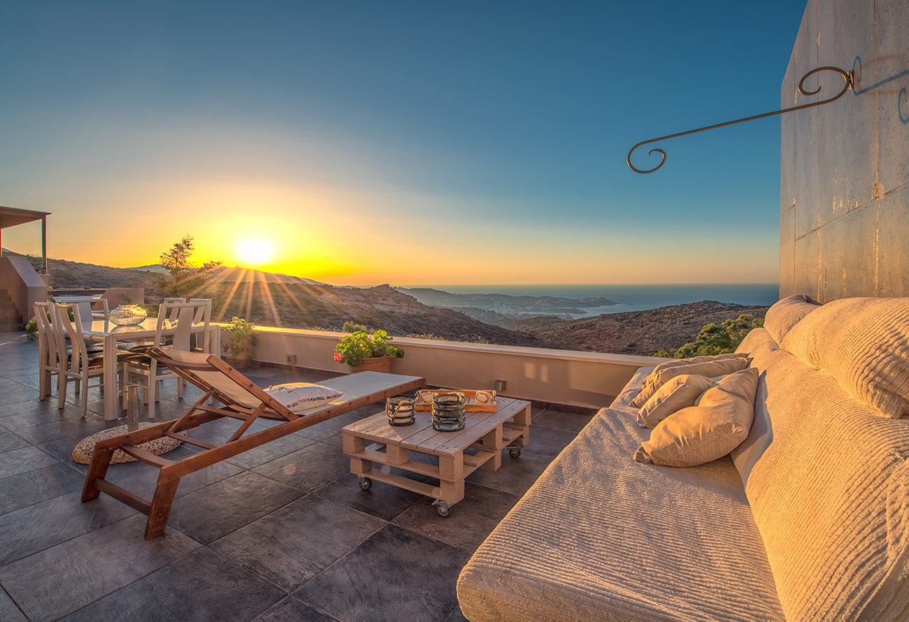 Sunset from a villa in island of crete more information at Airbnb