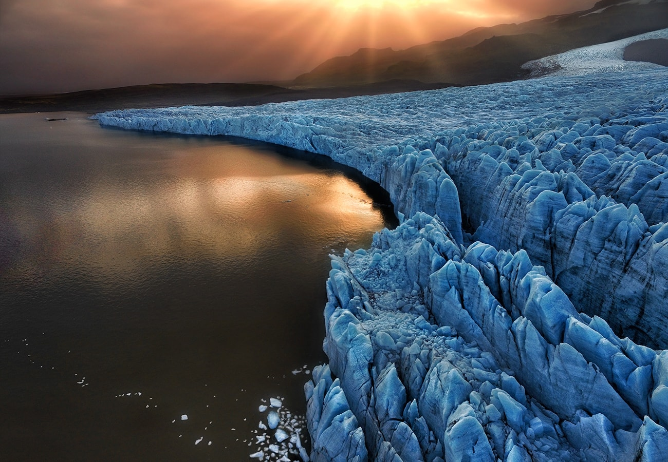 Glacier lake in iceland during the sunset